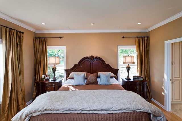 Drapery Rods Bedroom Traditional with Bedside Table Ceiling Lighting