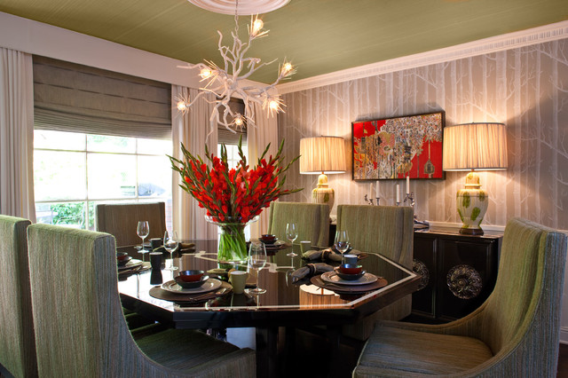 Drapery Rods Dining Room Transitional with Ceiling Medallion Ceiling Treatment
