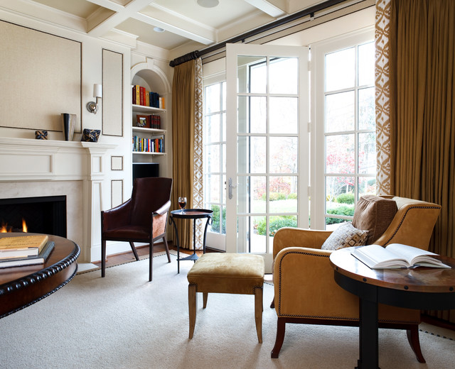 Drapery Rods Family Room Traditional with Area Rug Bookshelves Built
