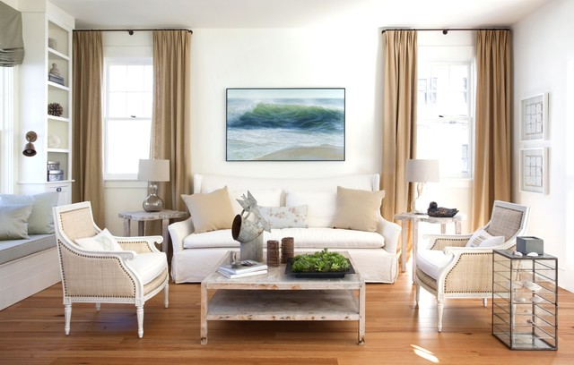 drapery rods Living Room Shabby-chic with antique coffee table artwork