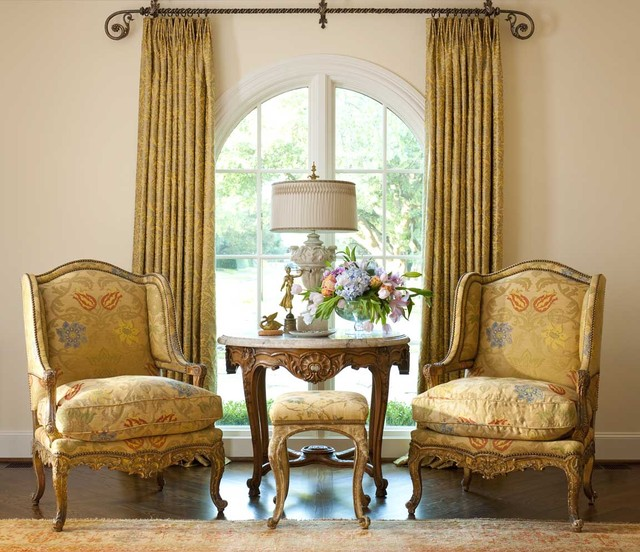 Drapery Rods Living Room Victorian with Arched Window Armchair Curtain
