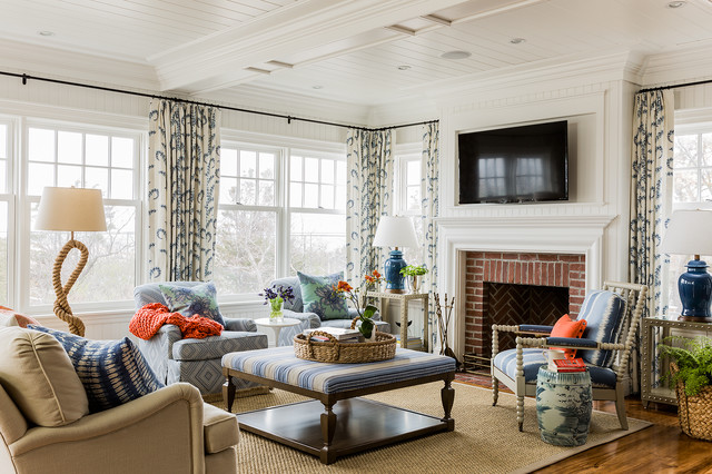 Drapery Rods Living Room Victorian with Beach Style Beige Sofa