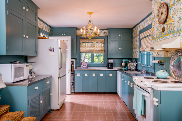Drawer Pulls and Knobs Kitchen Eclectic with Blue and Yellow Tropical