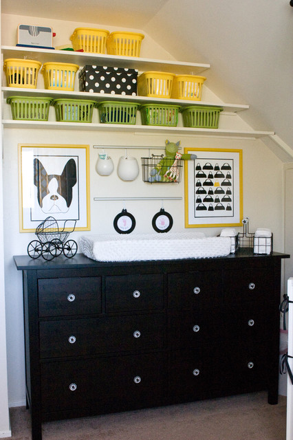 Dresser Changing Table Nursery Contemporary with Black and White Black