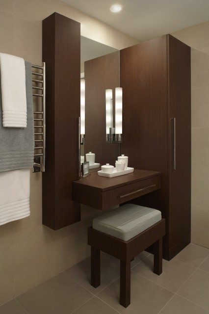 Dressing Table Vanity Bathroom Contemporary with Bath Accessories Beige Wall