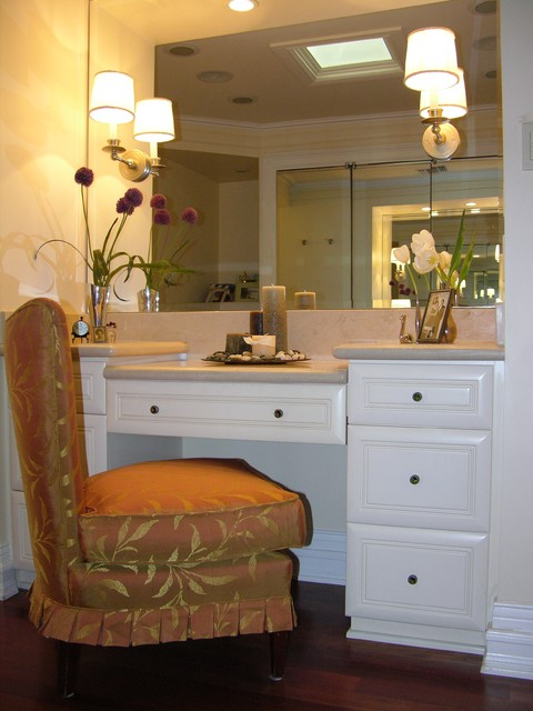 Dressing Table Vanity Bathroom Contemporary with Baseboards Candles Dark Floor