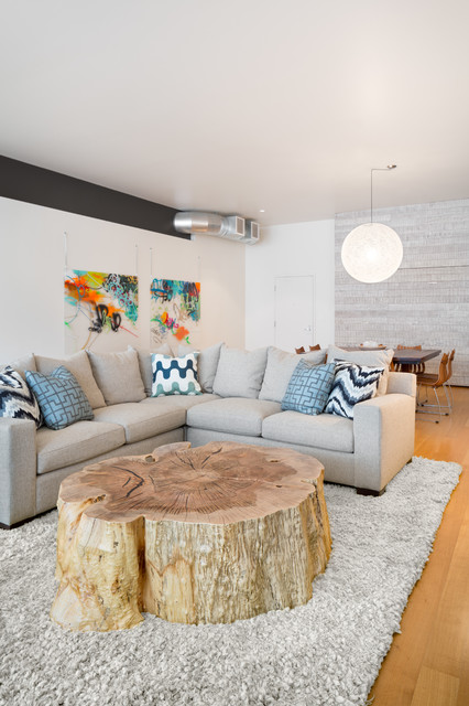 Driftwood Coffee Table Living Room Contemporary with Blue Throw Pillow Colorful