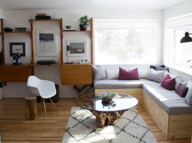 Driftwood Coffee Table Spaces Eclectic with Banquette Sofa Beni Ourain
