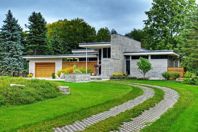 Driveway Pavers Exterior Contemporary with Flat Roof Grass Landscape