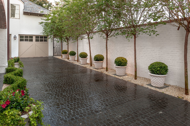 Driveway Pavers Landscape Traditional with Boxwood Parterre Garden Crape