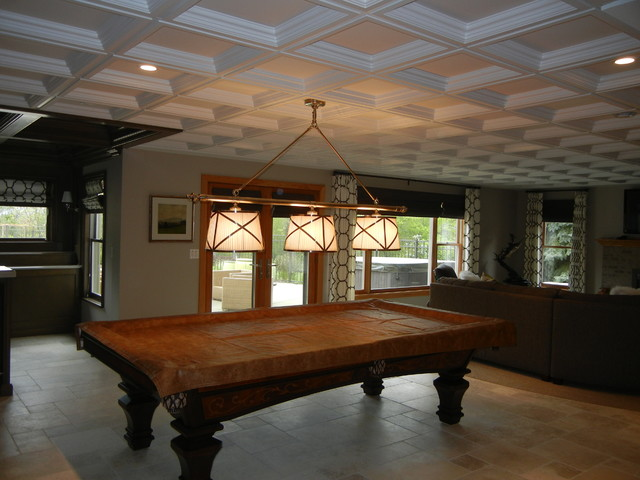 Drop Ceiling Tiles Basement Contemporary with Basement Family Room Coffered