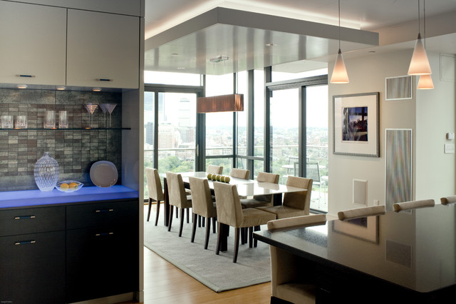 Drop Ceiling Tiles Dining Room Contemporary with Accent Light in Ceiling