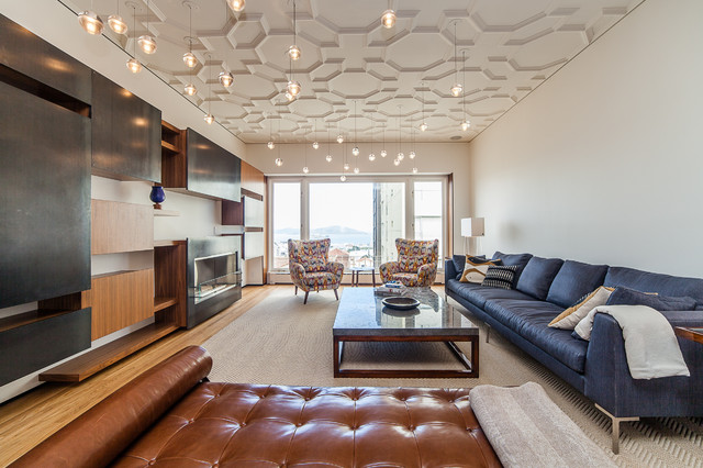 Drop Ceiling Tiles Living Room Contemporary with Area Rug Blue Brown