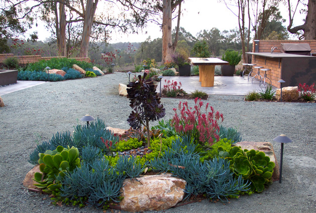Drought Tolerant Landscaping Landscape Contemporary with Concrete Countertop Custom Made Drought