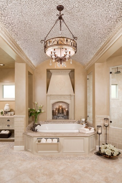 Drum Chandelier Bathroom Traditional with Air Tub Barrel Vaulted