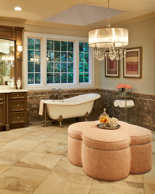 drum chandelier Bathroom Traditional with beige stone floor beige