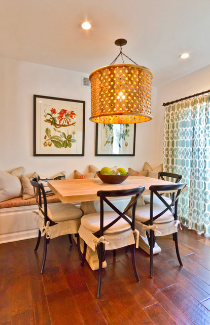 Drum Chandelier Dining Room Eclectic with Aqua Curtains Banquette Bench