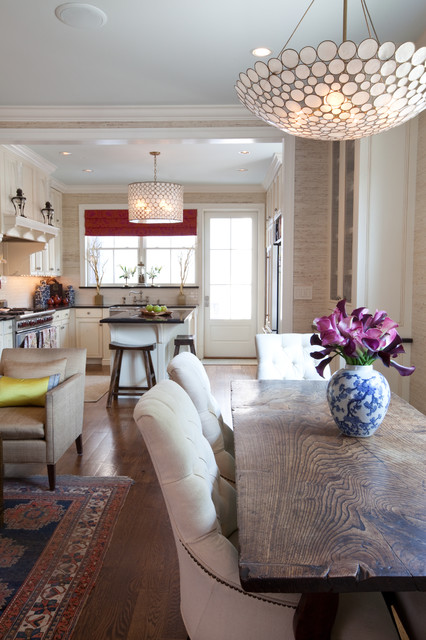 Drum Chandelier Dining Room Traditional with Area Rug Armchairs Barstools
