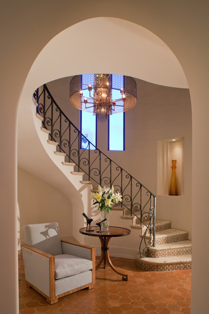 Drum Chandelier Staircase Mediterranean with Beige Wall Chandelier Curved