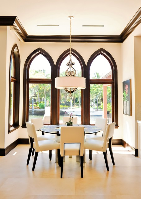 Drum Shade Chandelier Dining Room Contemporary with Arch Breakfast Room Crema