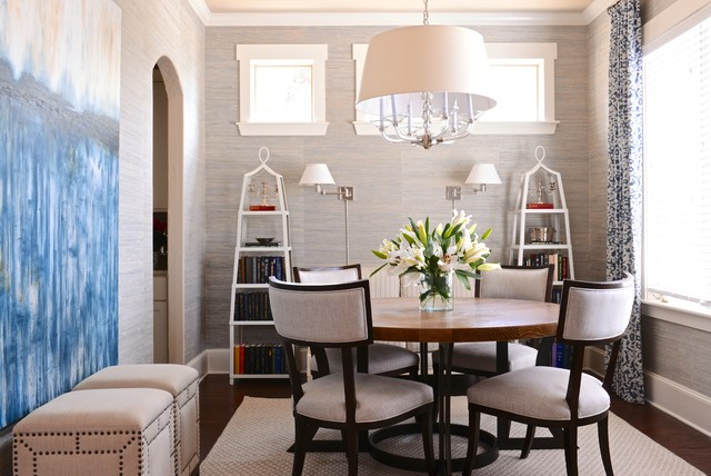 Drum Shade Chandelier Dining Room Transitional with Arched Doorway Clerestory Windows1