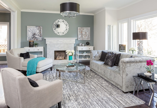 Drum Shade Chandelier Living Room Transitional with Aqua Area Rug Armchair1