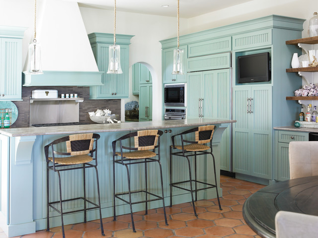 Ductless Range Hood Kitchen Beach with Aqua Aqua Cabinets Arch1