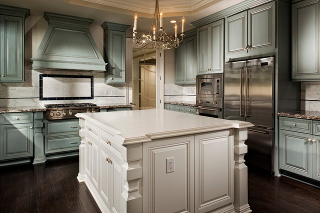 Dunn Edwards Paint Kitchen Traditional with Antiqued Backsplash Blue Cabinetry