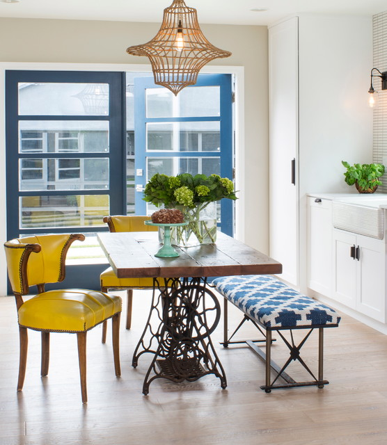 Dunn Edwards Paints Kitchen Contemporary with Basil Plants Blue Bench