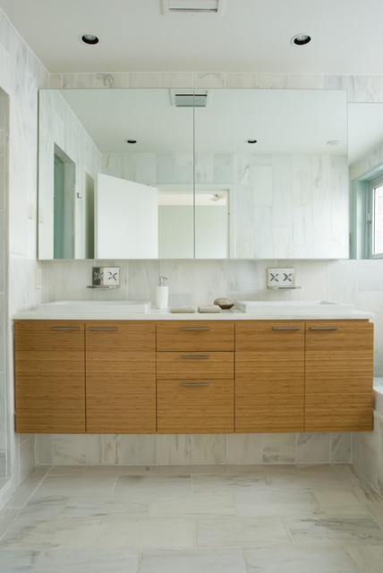 Duravit Sink Bathroom Contemporary with Bamboo Cabinets Bathroom Mirror