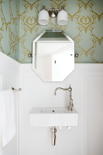 Duravit Sink Powder Room Traditional with 3x6 Subway Tile Blue