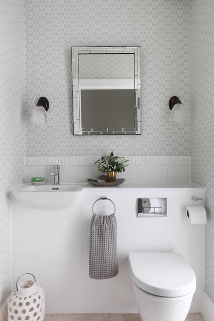 Duravit Toilet Powder Room Contemporary with 1950s Built in Sink Cloakroom