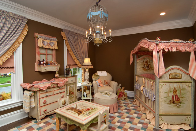 Dust Ruffle Nursery Traditional with Baseboard Beatrix Potter Blue