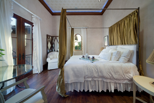 Dust Ruffles Bedroom Mediterranean with Arched Window Bed Curtains