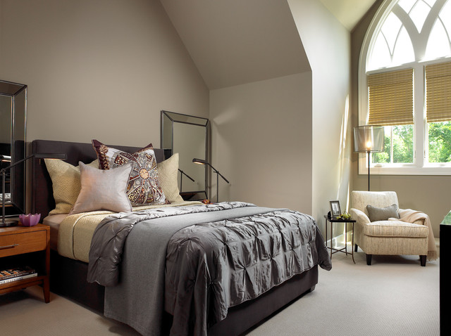 Duvet vs Comforter Bedroom Contemporary with Arch Arched Windows Bed