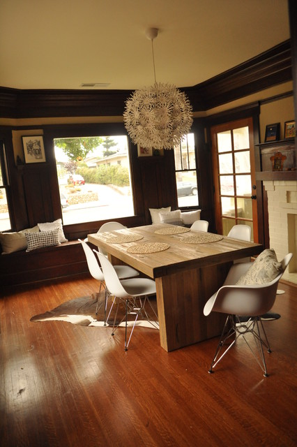 Eames Chair Replica Dining Room Transitional with Chunky Wooden Table Contrast