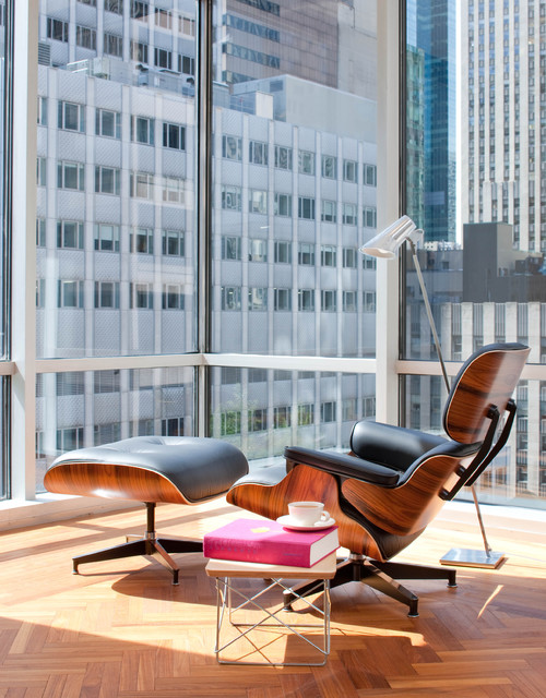 Eames Chair Replica Living Room Midcentury with Bright City Corner Windows