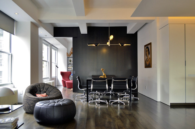 Eames Office Chair Dining Room Eclectic with Black Black Leather Pouf