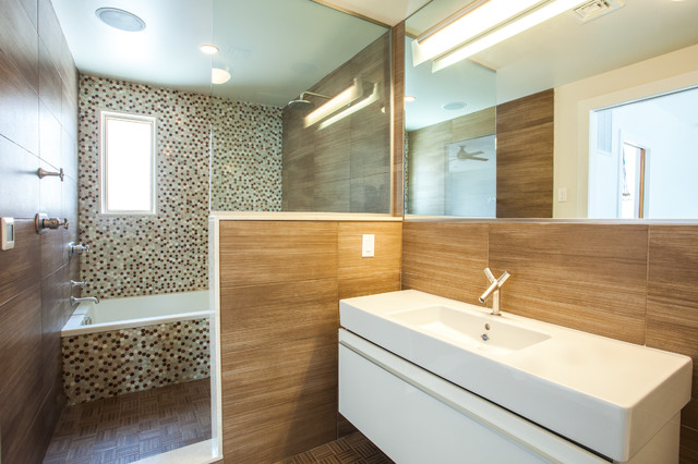 Electrolux Icon Bathroom Contemporary with Multi Color Mosaic Tile