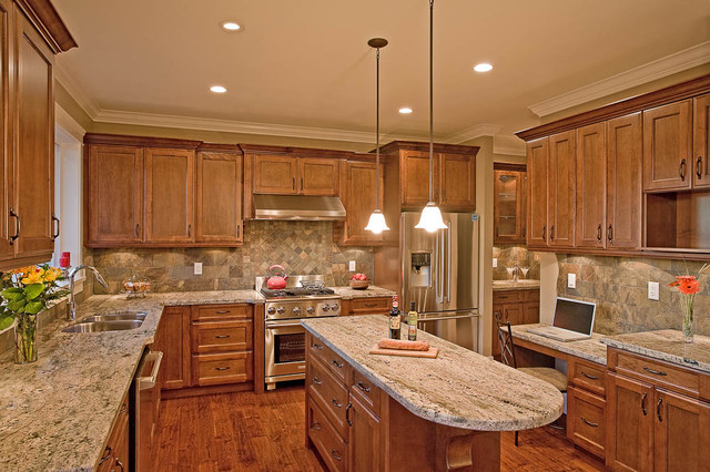 Electrolux Icon Kitchen Traditional with Ceiling Lighting Granite Countertops