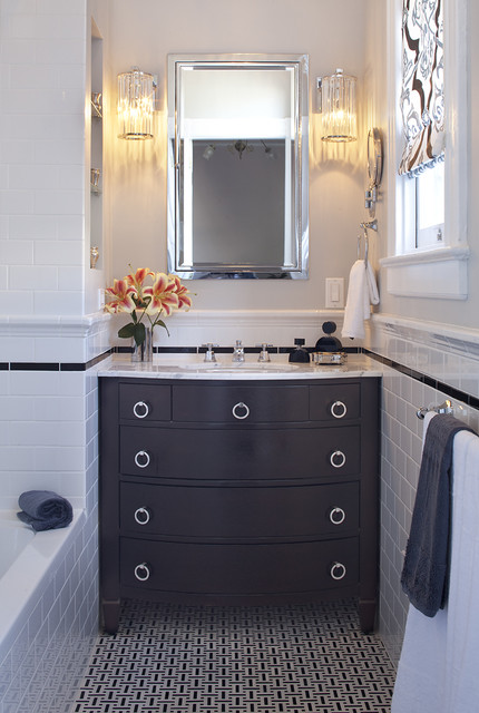 Eleganza Tile Bathroom Contemporary with Dark Stained Wood Gray
