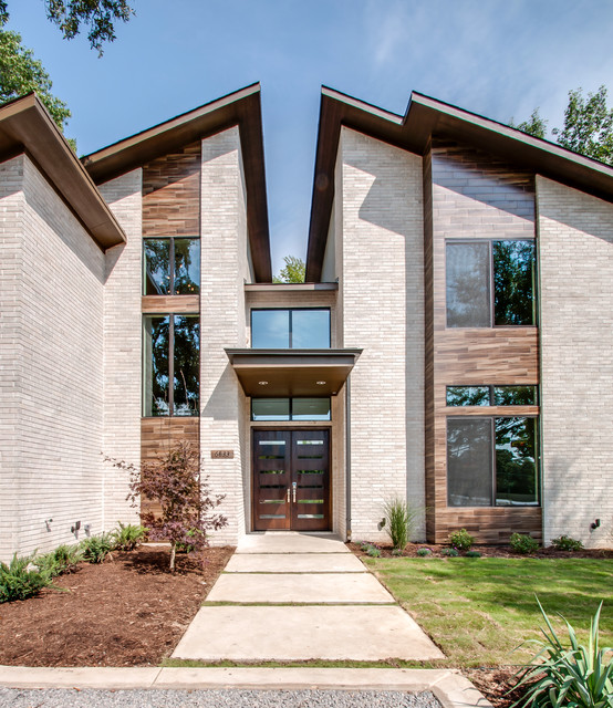 Eleganza Tile Exterior Contemporary with Awning Bark Mulch Brick