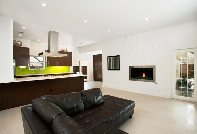 eleganza tile Family Room Contemporary with beige tile floors black