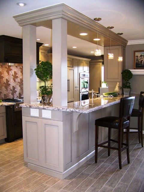 Eleganza Tile Kitchen Transitional with Breakfast Bar Ceiling Lighting