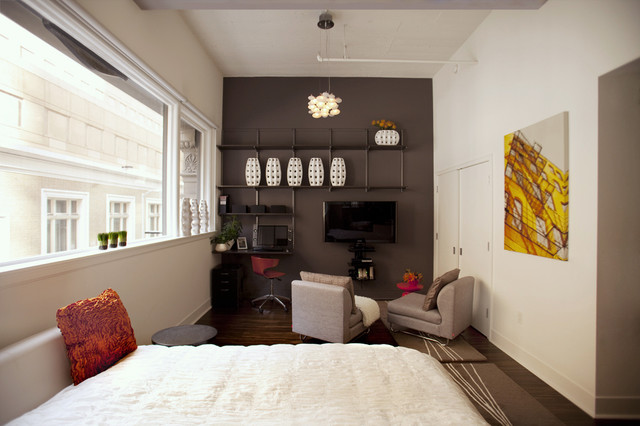 elfa shelving Bedroom Modern with accent wall accents accessories