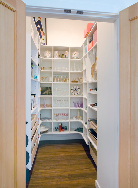 Elfa Shelving Kitchen Contemporary with Closet Dark Wood Floor