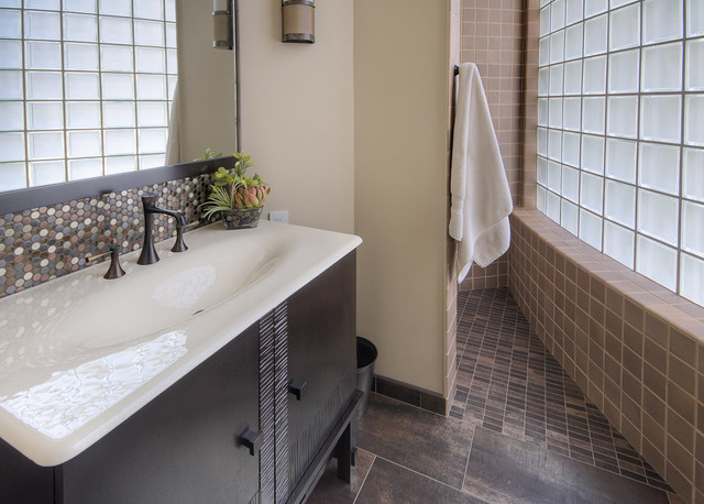 Emser Tile Bathroom Contemporary with Black Frame Black Sink