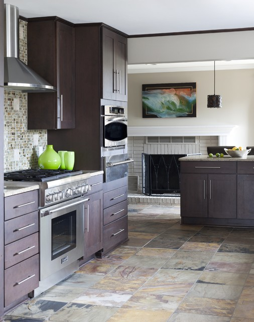 Emser Tile Kitchen Contemporary with Dark Wood Cabinets Fireplace