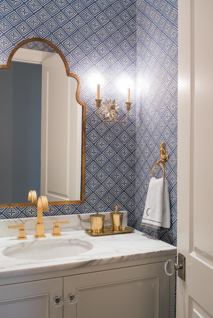 Emtek Hardware Bathroom Transitional with Blue and White Crystal