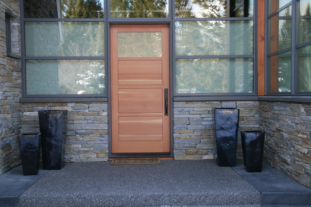 Emtek Hardware Entry Modern with Alder Knotty Alder Transom